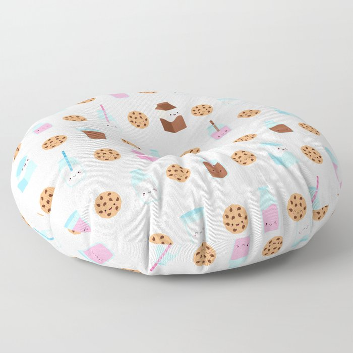 Milk and Cookies Pattern on White Floor Pillow