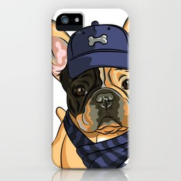 Cute puppy pug in baseball hat and scarf. iPhone Case
