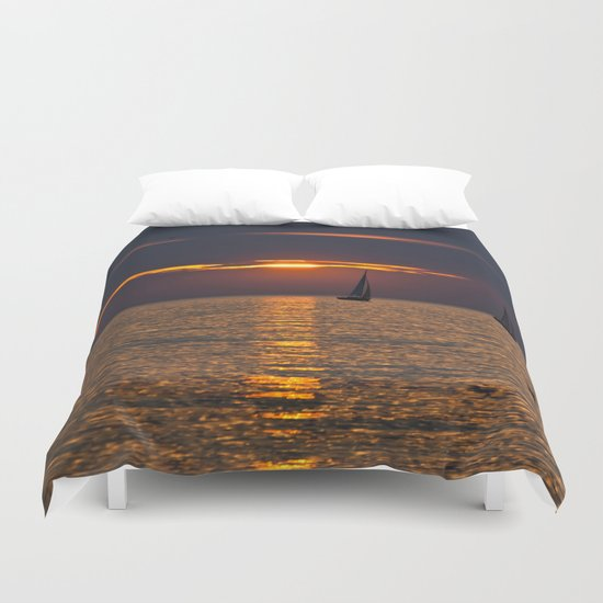 Summer sunset on the Baltic Sea Duvet Cover