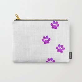 Purple Paw Prints Rose Carry-All Pouch