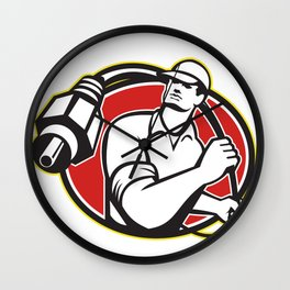 Cable TV Installer Guy Wall Clock