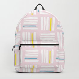 Stripes×Checkered Pattern_Pink&Mint Green Backpack