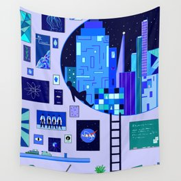 Pensive Blue Wall Tapestry