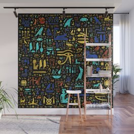 Colorful  Ancient Egyptian hieroglyphic pattern Wall Mural