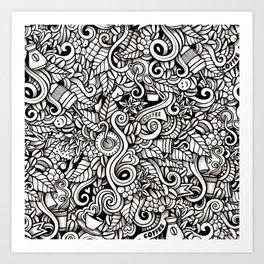 coffee doodle Art Print