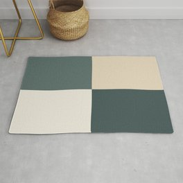 4 Quarters Green & Beige Blocks Inspired by PPG Glidden Colors of 2019 Night Watch and Accent Color Rug