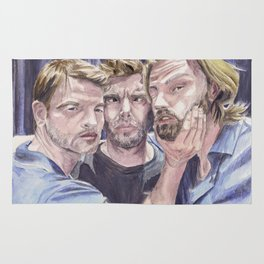 Team Free Will 2.: Misha Collins; Jared Padalecki and Jensen Ackles, watercolor painting Rug