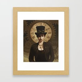 Mechanism, Steampunk Pin-Up Framed Art Print