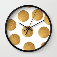 polkadot Wall Clocks featuring GOLD POLKADOT 2 by wlydesign