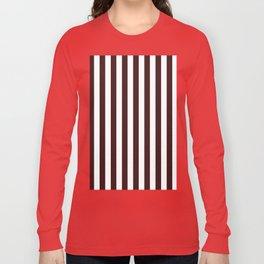 Narrow Vertical Stripes - White and Dark Sienna Brown Long Sleeve T-shirt