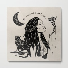 """""""The moon is calling and I must go"""" boho quote portrait illustration Metal Print"""