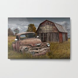 Rusted Pickup Truck with Mail Pouch Tobacco Barn Metal Print