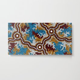 Authentic Aboriginal Art - Wetland Dreaming Metal Print