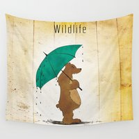wildlife Wall Tapestries featuring Wildlife by AhaC