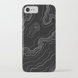 Black topography map iPhone Case