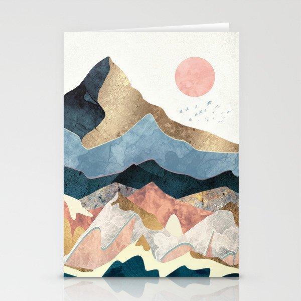 Golden Peaks Stationery Cards