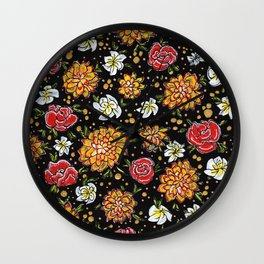 Roses and Marigolds Wall Clock