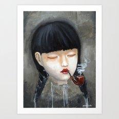 Chinese Girl Smoking a Pipe Art Print