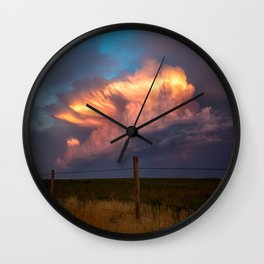 Dreamy - Storm Cloud Drenched in Sunlight at Dusk in Western Oklahoma Wall Clock
