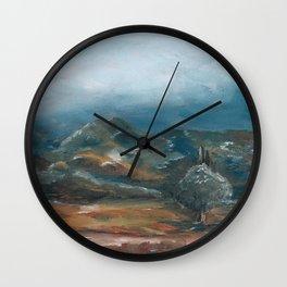 Storm brewing over rural landscape Wall Clock