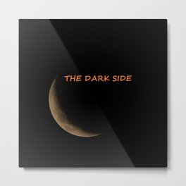 The Dark Side of the Moon - black background with text Metal Print