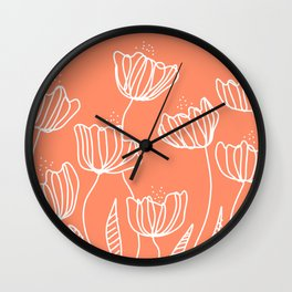 Peach Flower Doodles Wall Clock