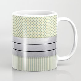 Background of polka dots and stripes with paper texture and with a metallic stripe Coffee Mug