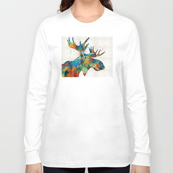 Colorful Moose Art - Confetti - By Sharon Cummings Long Sleeve T-shirt