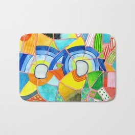 Happy Pattern with two Half Circles and one single Flower Bath Mat