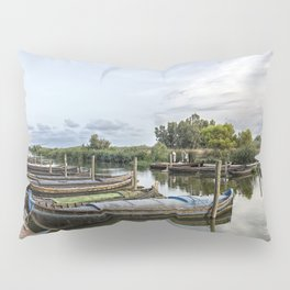 Boats in a lagoon port Pillow Sham