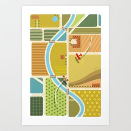 from above in the skies of Picardy Art Print