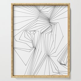 Confinement   Black Ink on White Geometric Drawing Serving Tray