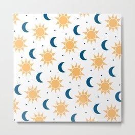 Sun & Moon Pattern - White Metal Print