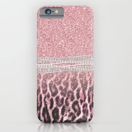 Chic Girly Pink Leopard animal print Glitter Image iPhone Case