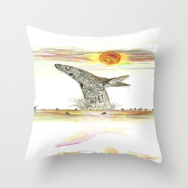 Sunset Whale Surf Lineup Throw Pillow
