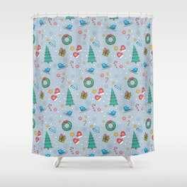 New Year Christmas winter holidays cute Shower Curtain