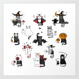 Horror Cats and mouses. Cute witch, vampire, angel and demon Art Print