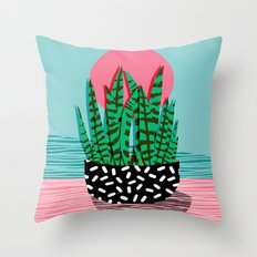 Edgy - wacka potted indoor house plant hipster retro throwback minimal 1980s 80s neon pop art Throw Pillow