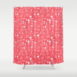 Pattern Project #8 / Things (red) Shower Curtain