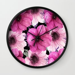 Elegant Floral Pageantry in Pretty Pink Pattern Wall Clock