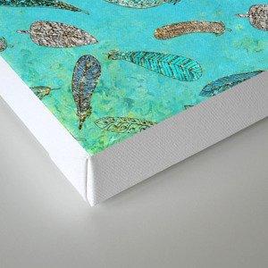 Sparkle Glitter Boho Bohemian Feathers on aqua on #Society6 Canvas Print