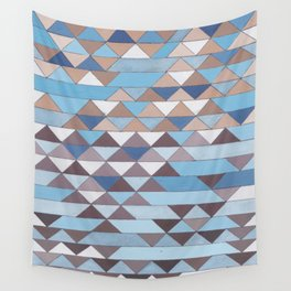 Triangle Pattern No.6 Crisp Blue Wall Tapestry