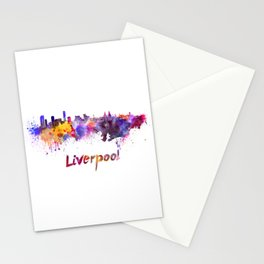 Liverpool skyline in watercolor Stationery Cards