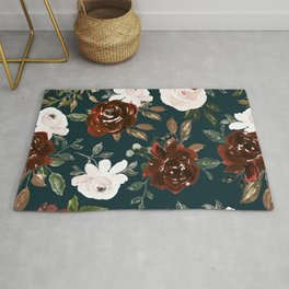 Autumn is calling - rust and blush roses on petrol Rug