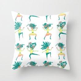 Little dancing shamans print Throw Pillow