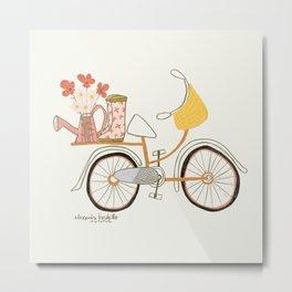 Floral Bicycle & Rain Boots Art Print Metal Print