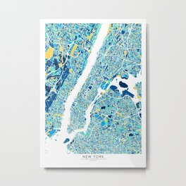 New York City Map United states full color Metal Print