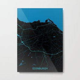 Edinburgh United Kingdom Road Map Metal Print
