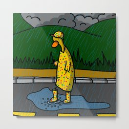 Rainy Day Duck Metal Print