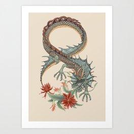 Botanical Flower Dragon 8 Art Print
